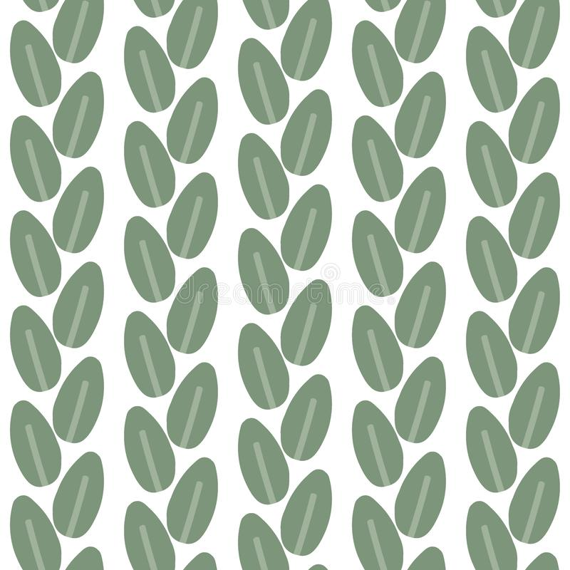 Seamless pattern of leaves on a white background. Vector royalty free illustration