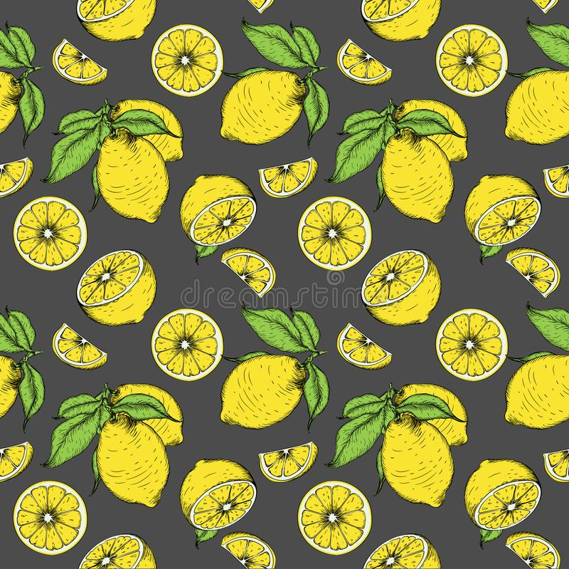 Seamless pattern from lemons. Can be used for background sites, fabrics, bymagi, etc. Vector illustration royalty free illustration