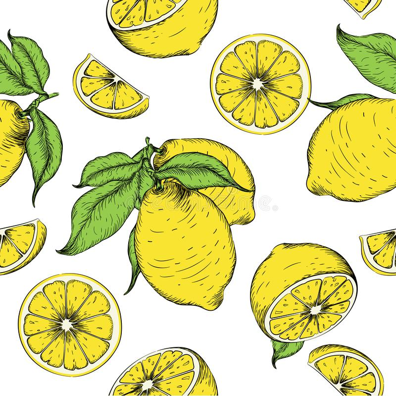 Seamless pattern from lemons. Can be used for background sites, fabrics, bymagi, etc. Vector illustration vector illustration
