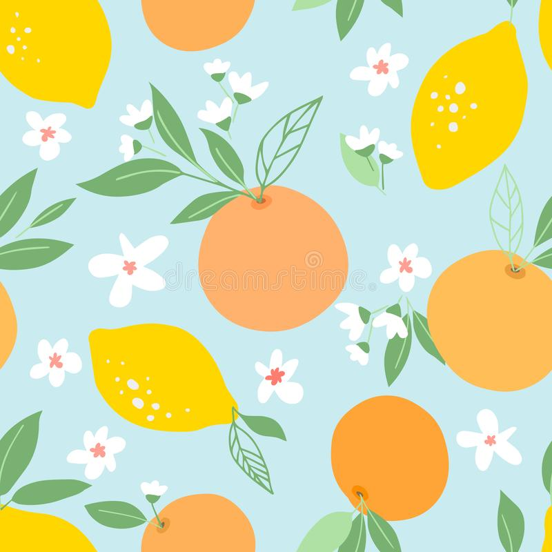Seamless pattern with lemons and oranges, tropic fruits, leaves, flowers. Fruit repeated background. Plant template for cover, fab. Ric, textile, wallpaper royalty free illustration