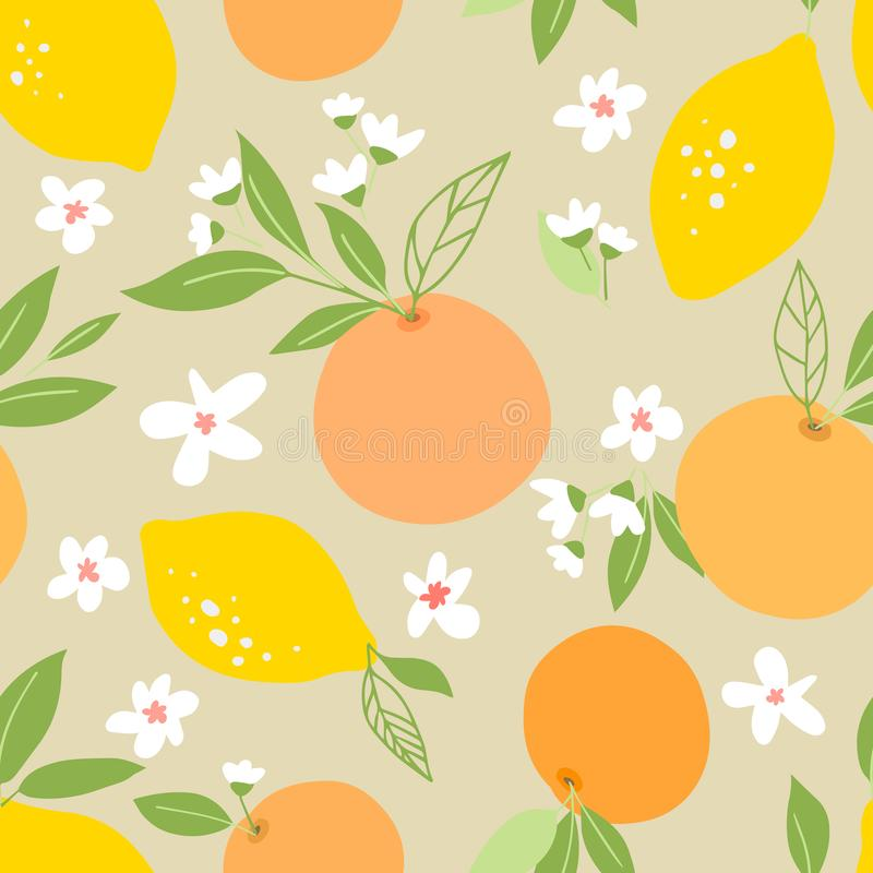 Seamless pattern with lemons and oranges, tropic fruits, leaves, flowers. Fruit repeated background. Plant template for cover, fab. Ric, textile, wallpaper stock illustration
