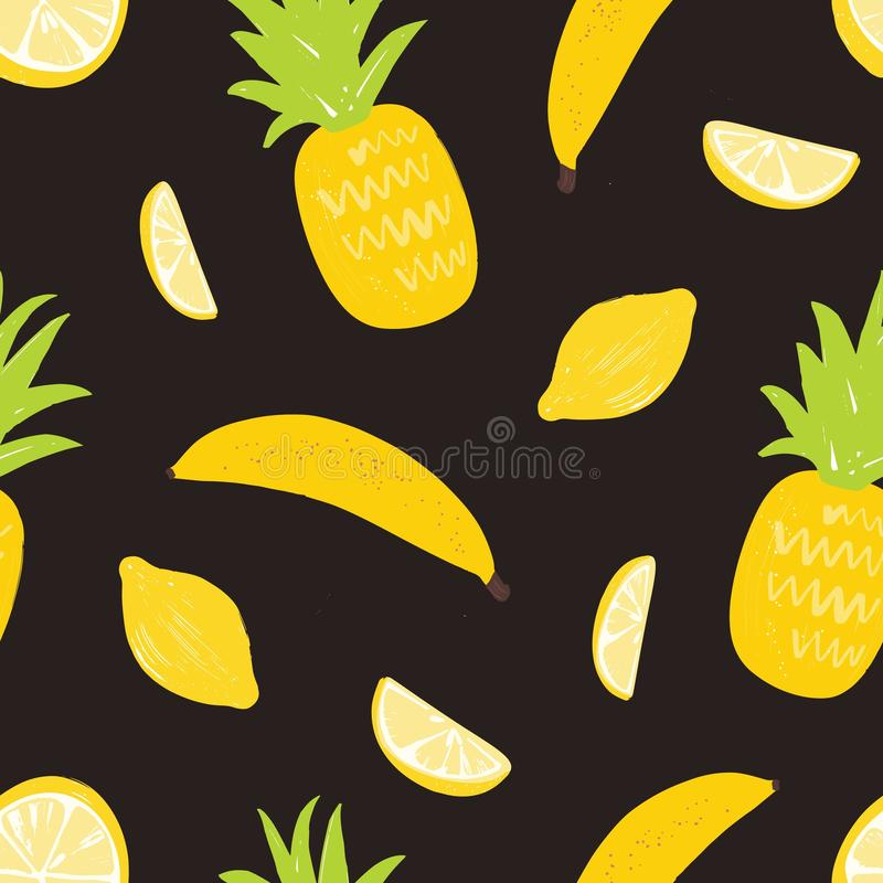 Seamless pattern with lemons, pineapples and bananas on black background. Backdrop with delicious sweet exotic organic royalty free illustration