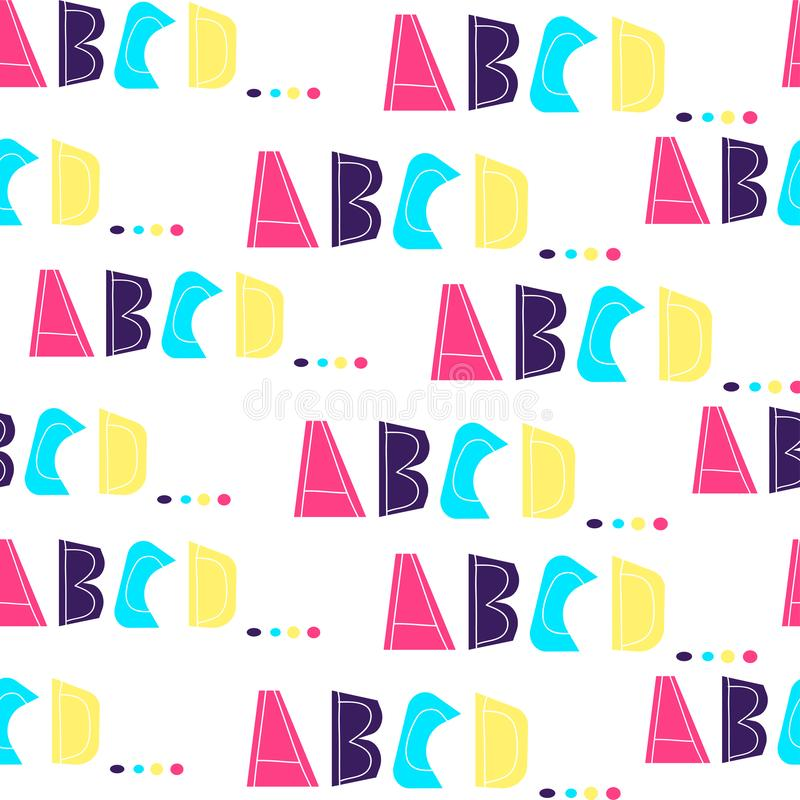 Seamless pattern with letters of alphabet A, B, C, D. Bright neon colors on white background. Letters are drawn by hand. vector illustration