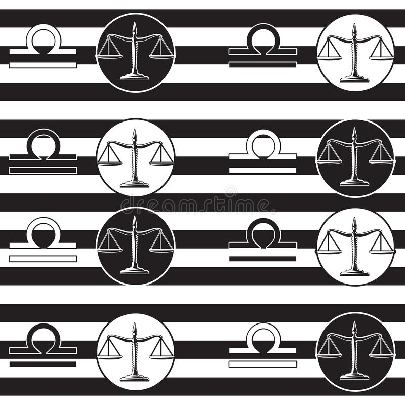 Seamless pattern with libra zodiac sign. Vector illustration for design, web, wrapping paper, fabric, wallpaper vector illustration