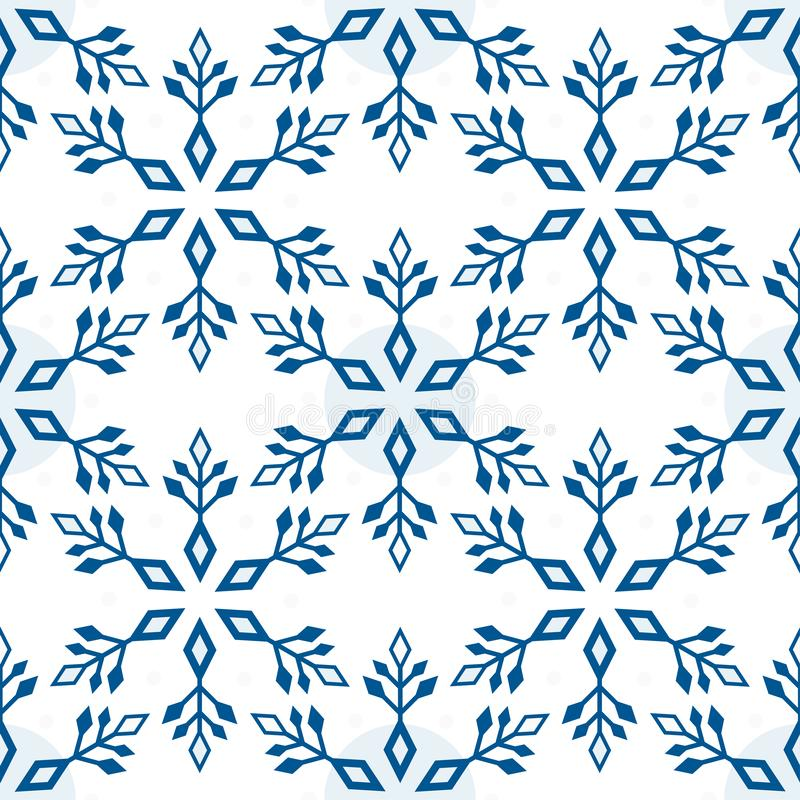 Seamless pattern from light blue snowflakes on a white background. Abstract geometric winter shapes, vector illustration stock illustration