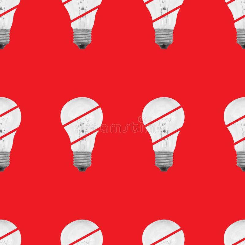 Seamless pattern of light bulbs royalty free stock image