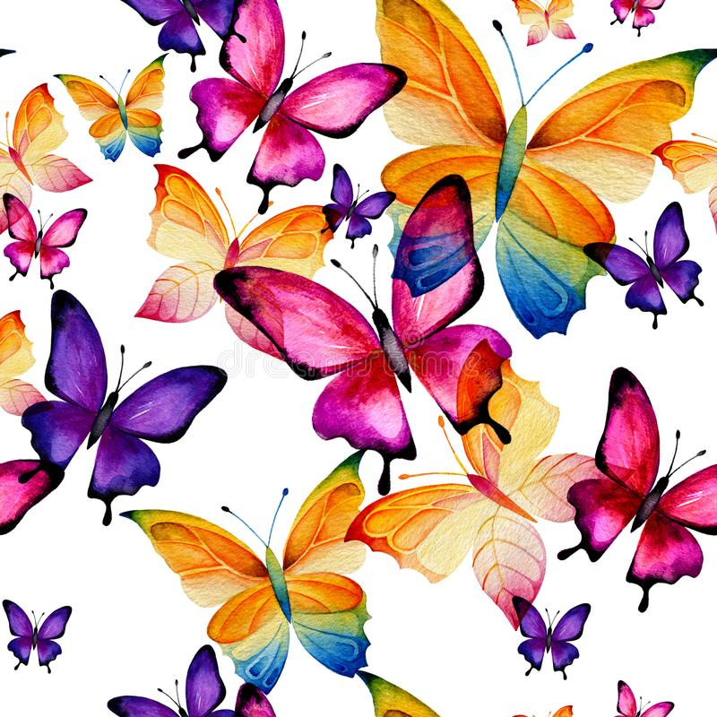 Seamless pattern of lilac butterflies vector illustration