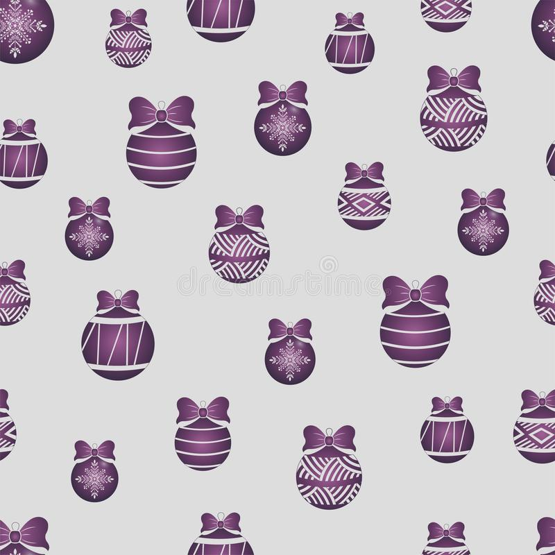 Seamless pattern of lilac color Christmas toys stock illustration