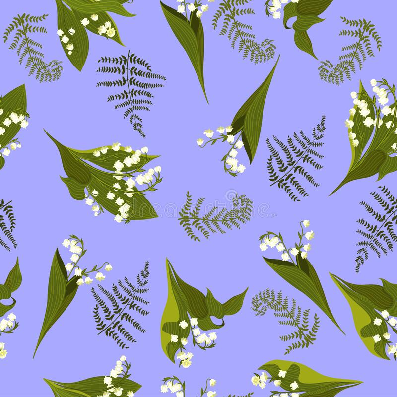 Seamless pattern with lilies of the valley. Vector graphics. Seamless pattern with lilies of the valley. Vector image royalty free stock photography