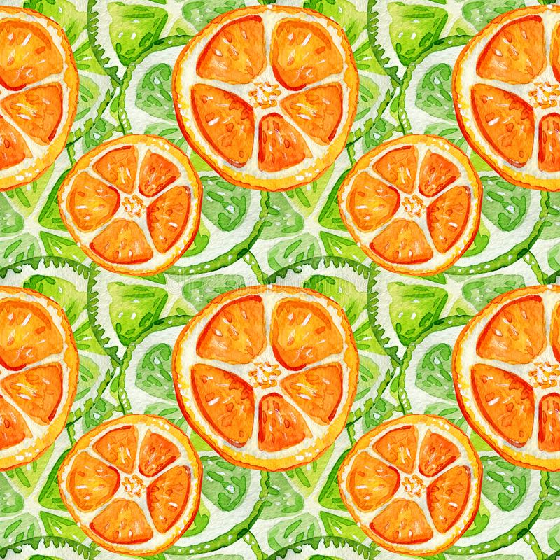 Seamless pattern with lime and orange royalty free illustration