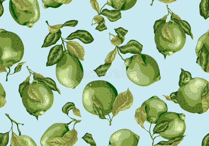 Seamless Pattern of limes amd lemon fruits. There are leaves and. Fruits on the branches. Pattern made in vintage style im green colors vector illustration