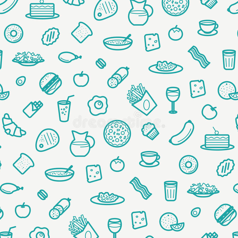 Seamless Pattern With Line Icons of Food Like Sausage, Cake, Donut, Croissant, Bacon, Muffins, Coffee, Salad etc. Vector Illustration stock illustration