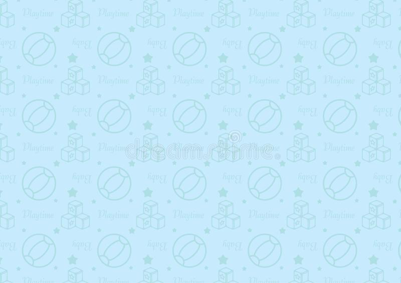 Seamless pattern in line style icon with baby toys theme fully editable resizable vector in soft blue color royalty free illustration