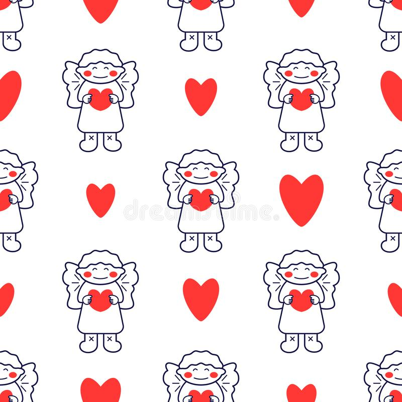 Seamless pattern with line style icon of angel and heart. Holiday background for Christmas and New Year card royalty free illustration