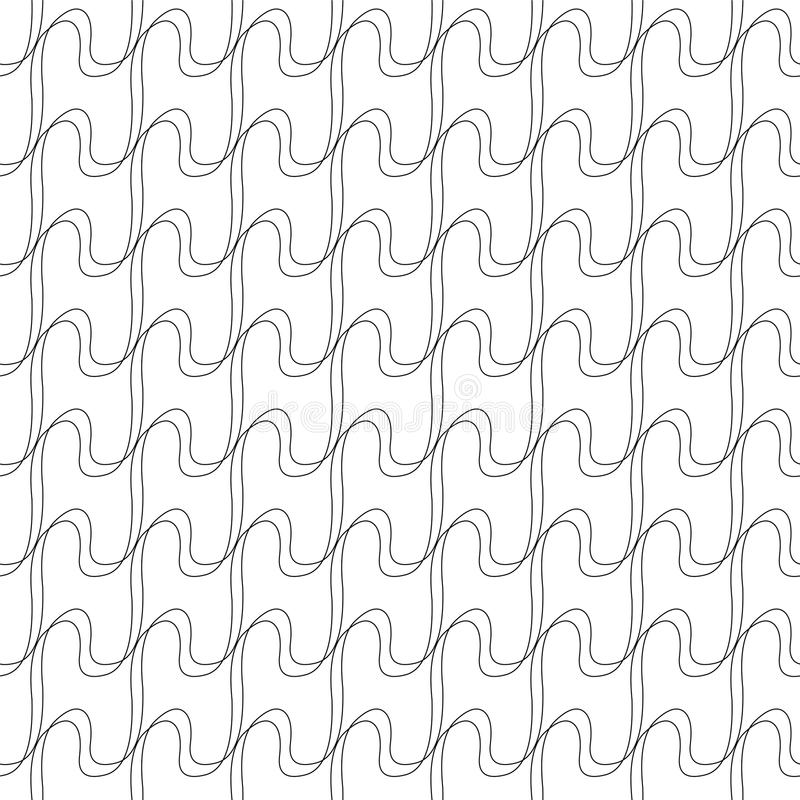 Seamless pattern of linear waves. Vector background stock illustration