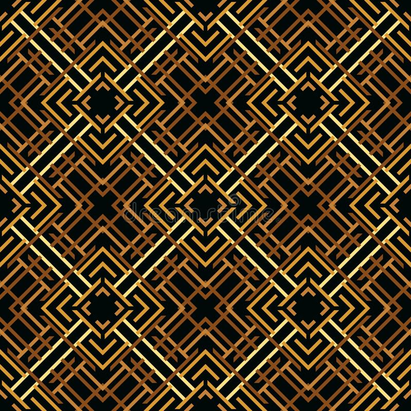 Seamless pattern of lines and squares. Overlay elements on top of each other. Ethnic style royalty free illustration