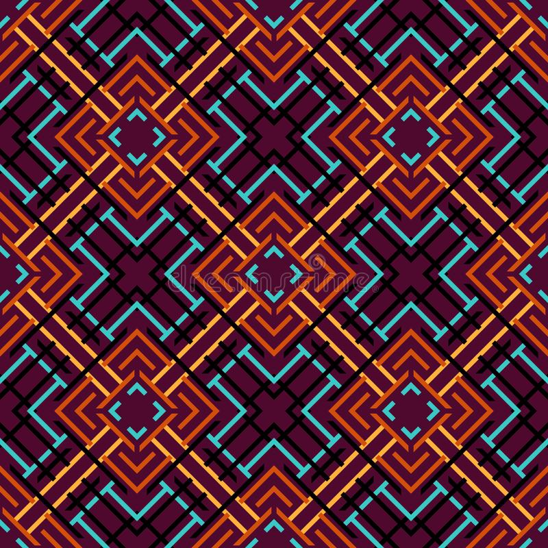 Seamless pattern of lines and squares. Overlay elements on top of each other. Ethnic style vector illustration