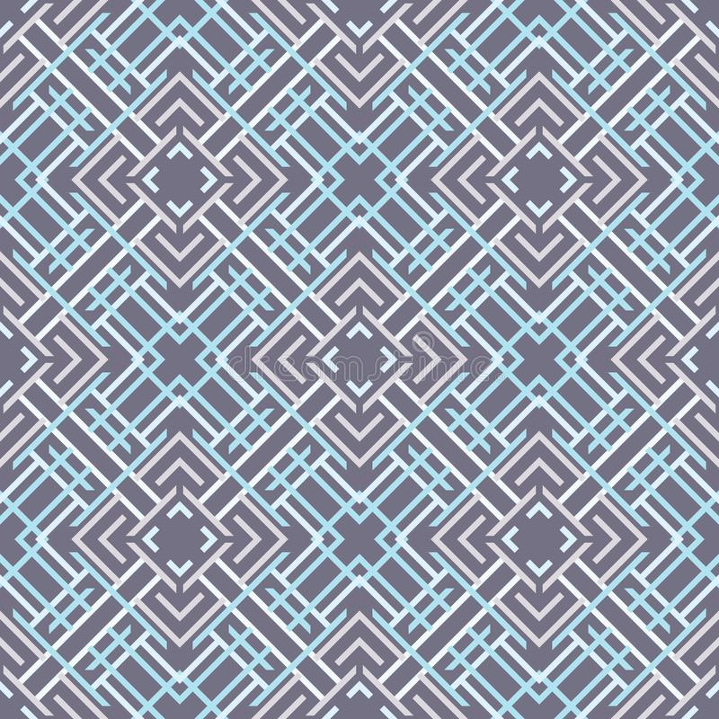 Seamless pattern of lines and squares. Overlay elements on top of each other. Ethnic style stock illustration