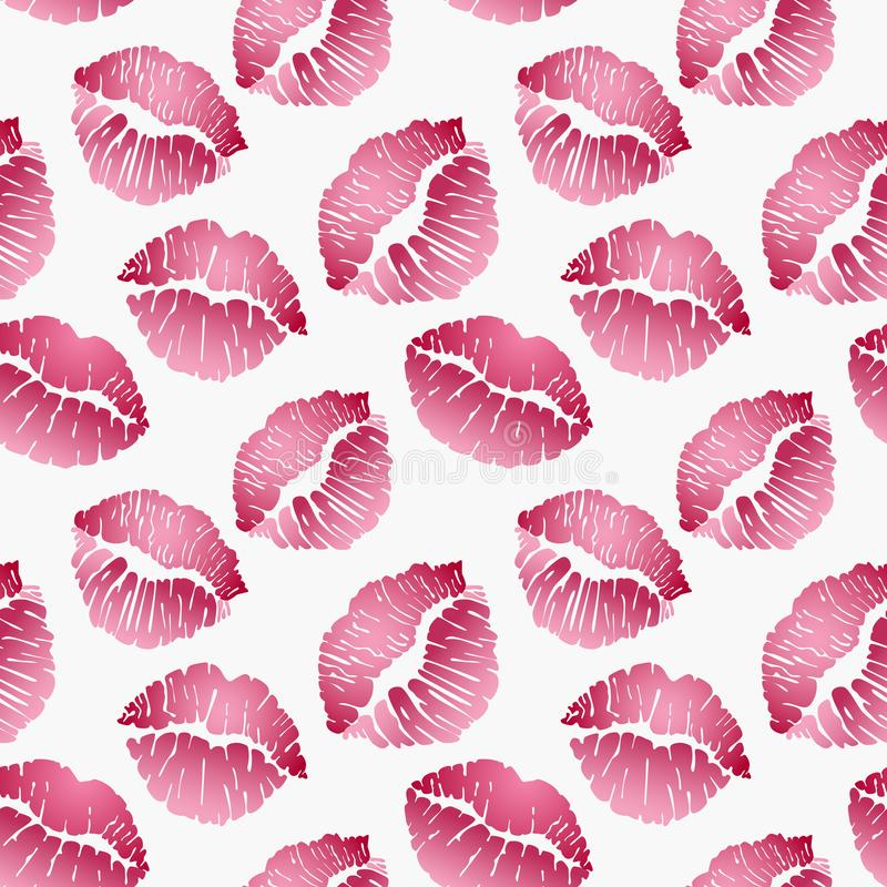 Seamless pattern with lip prints, red lips on white background. Vector illustration vector illustration