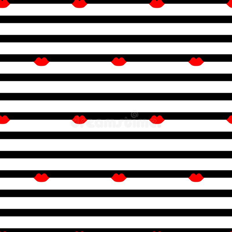 Seamless pattern with lips on a striped background vector illustration
