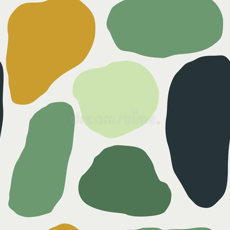Seamless pattern of liquid forms in Scandinavian style. Hand draw texture in green colors from geometric objects stock illustration