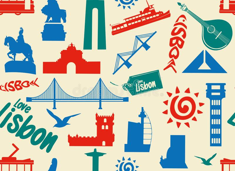 Seamless pattern with Lisbon symbols and landmarks stock images