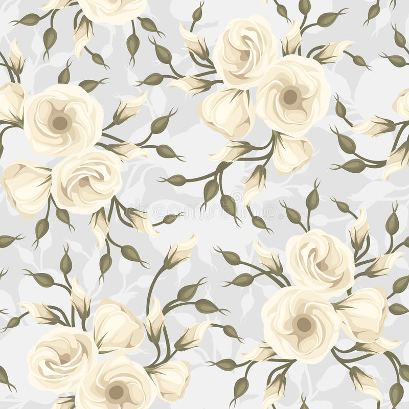 Seamless Pattern With Lisianthus Flowers. Vector. Stock Vector
