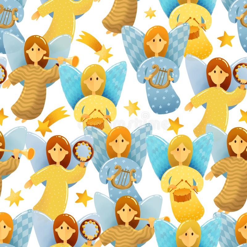 Seamless pattern of little angels with wings stock illustration