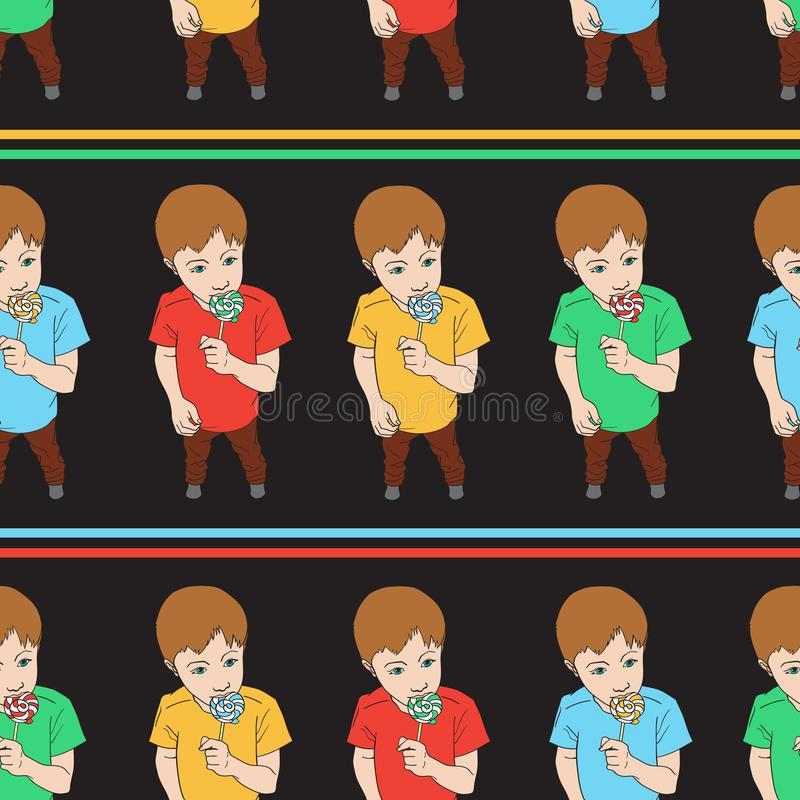 Seamless pattern of Little boy holding lollipop candy. Kid eating sweet. Vector background isolated on black vector illustration