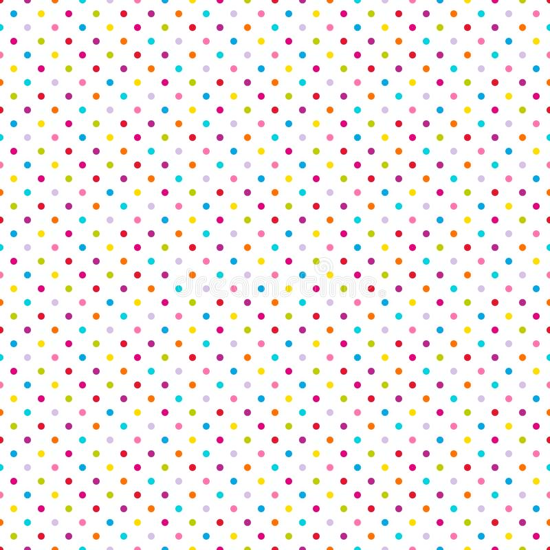 Seamless Pattern Little Colorful Dots On White vector illustration