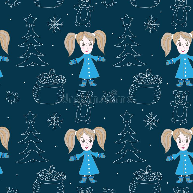 Seamless pattern with little cute little girl and white line tree, star, bear, gift box vector illustration