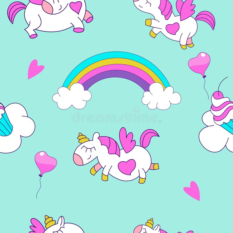 Seamless pattern. Little cute unicorns with wings flying through the sky among clouds and rainbows. Children`s pattern. Vector ill. Seamless pattern with cute stock illustration