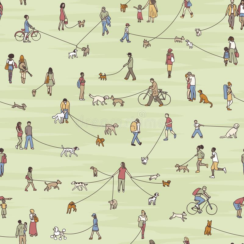 Seamless pattern with little dog walkers royalty free illustration