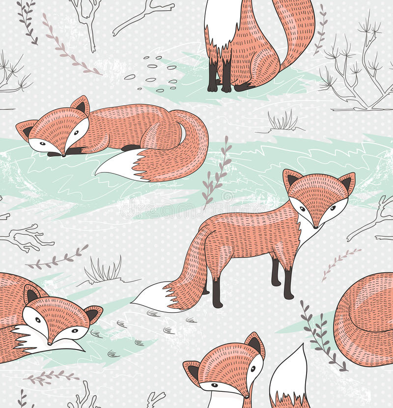 Seamless pattern with little foxes. stock illustration