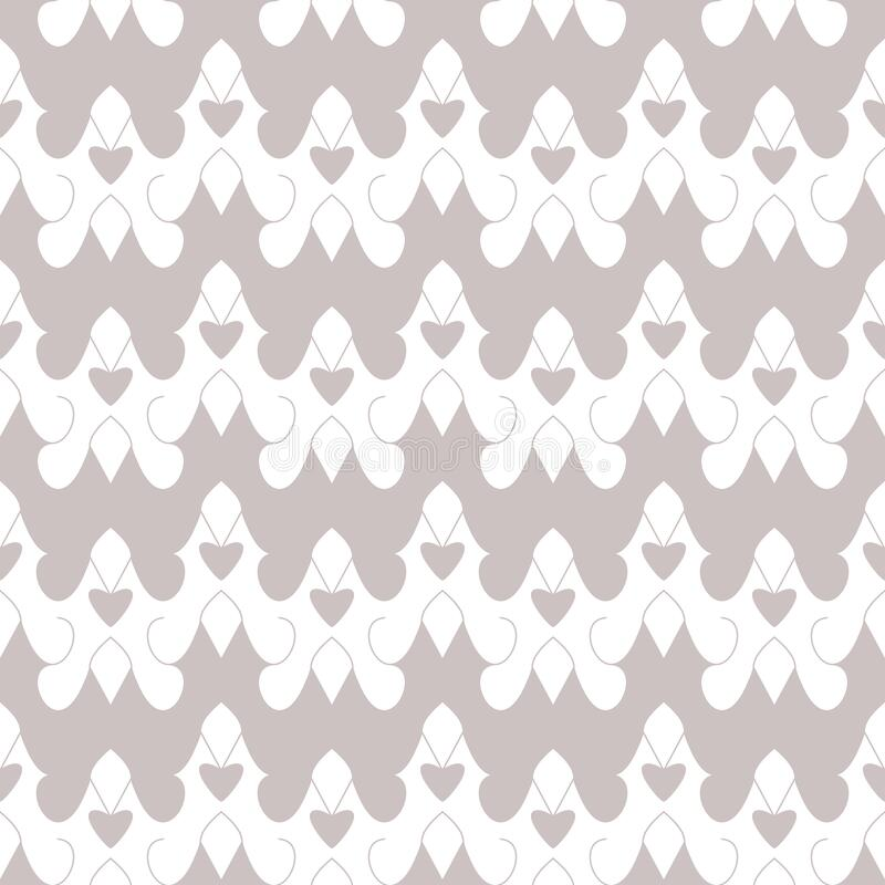Seamless pattern with little hearts. White and grey. Vector. stock photo
