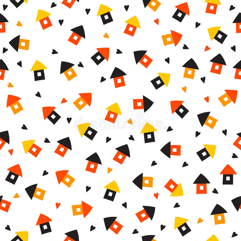 Seamless pattern with little houses and hearts. Cute background royalty free illustration