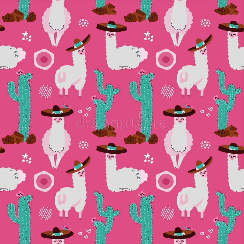 Seamless pattern with llama, alpaca,cactus and design elements on pink background. Vector hand drawn Illustration. South america` royalty free illustration