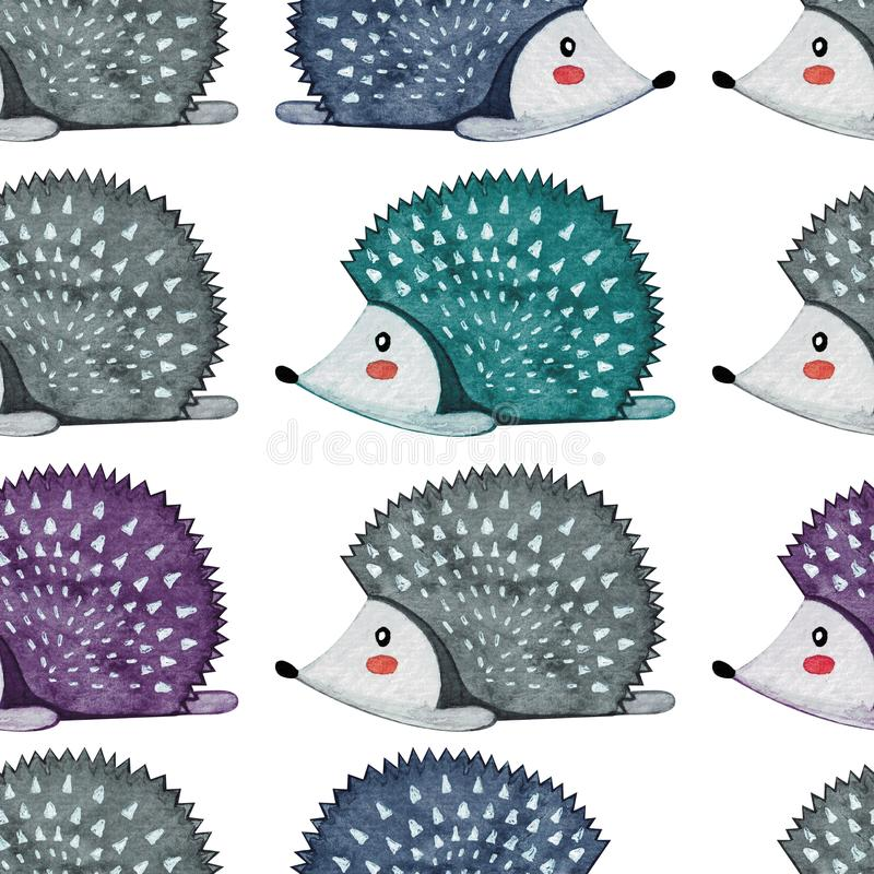 Seamless pattern with llazy hedgehog. Lazy animal. Watercolor.  vector illustration
