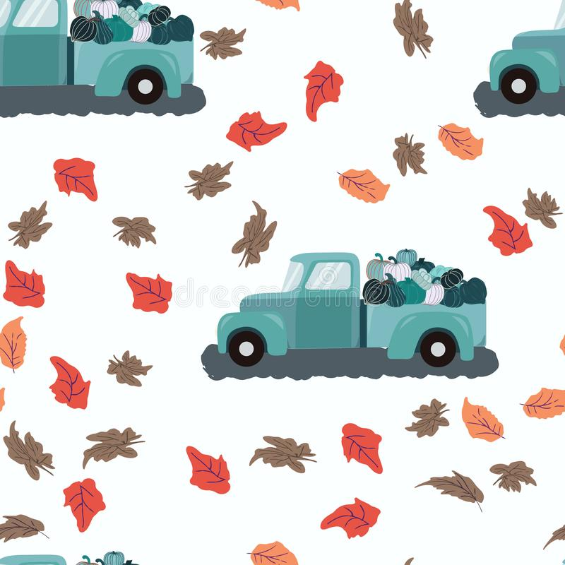 Seamless pattern with loaded fall teal truck and autumn leaves. Seamless pattern fall teal truck loaded with harvest blue green pumpkins. Repeat design with stock illustration