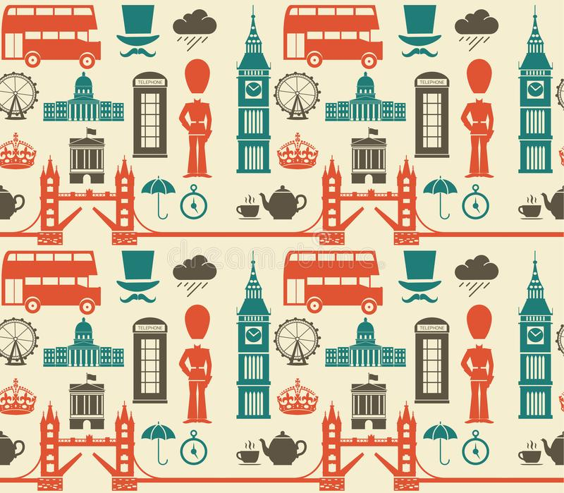 Seamless pattern with London England symbols and landmarks. Background texture of London elements. monuments graphics vector. England vector illustration