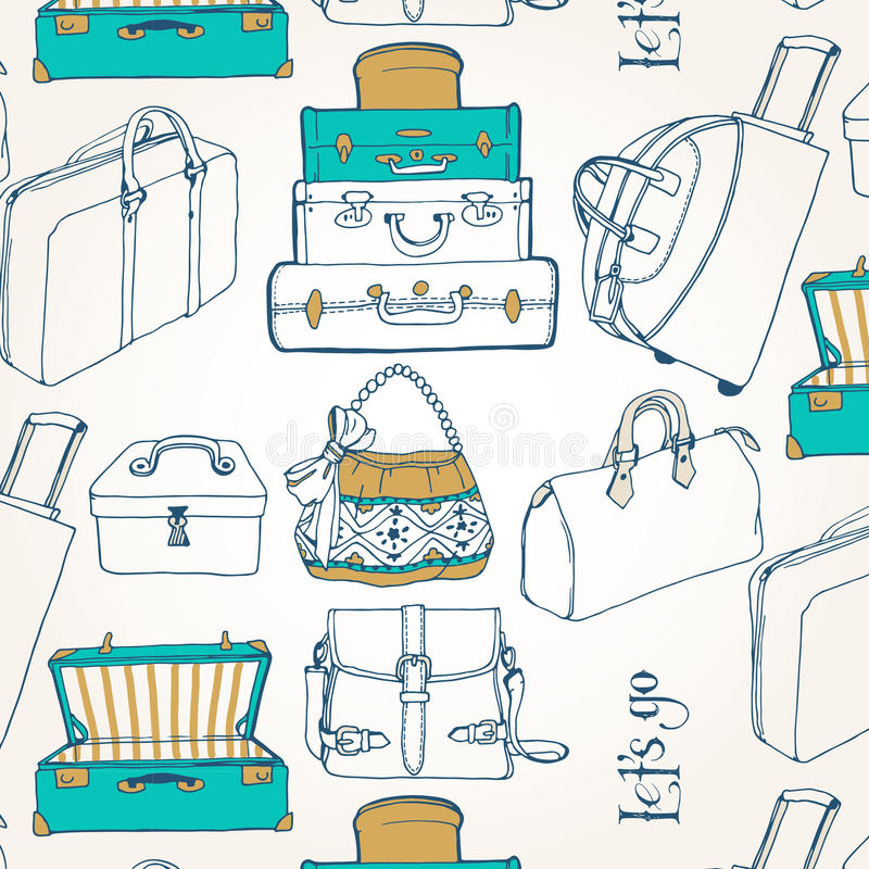 Seamless pattern with a lot of bags and suitcases stock illustration