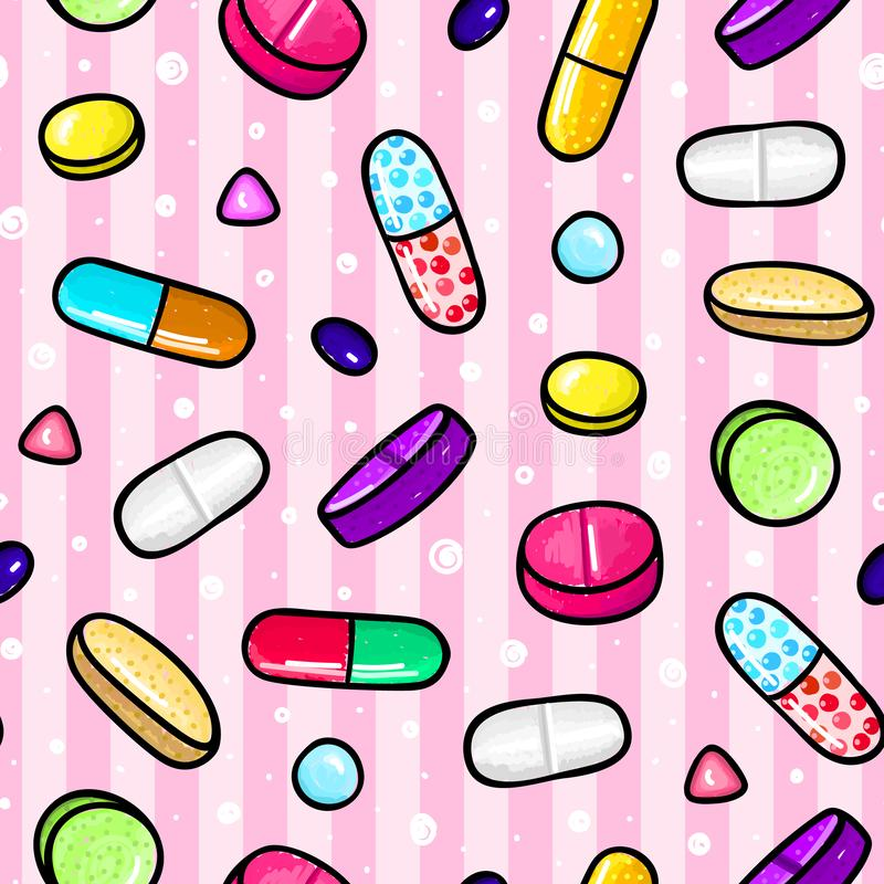 Seamless pattern with lot of pills and capsules. Medicine or dietary supplements. Healthy lifestyle. Alcohol markers style. Doodle. Health and care. Design for stock illustration