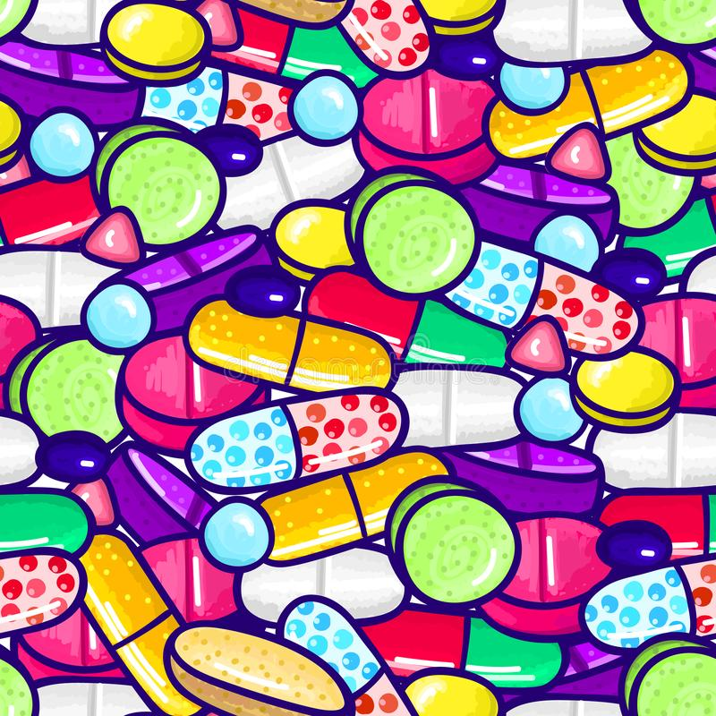 Seamless pattern with lot of pills and capsules. Medicine or dietary supplements. Healthy lifestyle. Alcohol markers style. Doodle. Health and care. Design for royalty free illustration