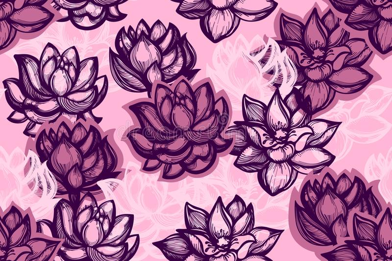 Seamless pattern with lotus flowers on a pink background. Background with water flowers in the Chinese style. stock illustration