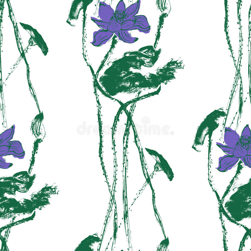 Seamless pattern with lotus flowers. Stock vector. royalty free illustration