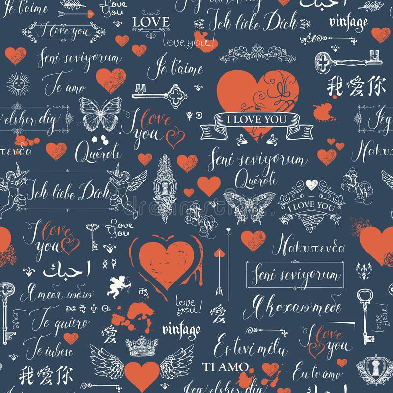 Seamless pattern with love lettering and hearts. Vector seamless pattern with hearts, butterflies, cupids, keys, keyholes and love theme letterings. Abstract stock illustration