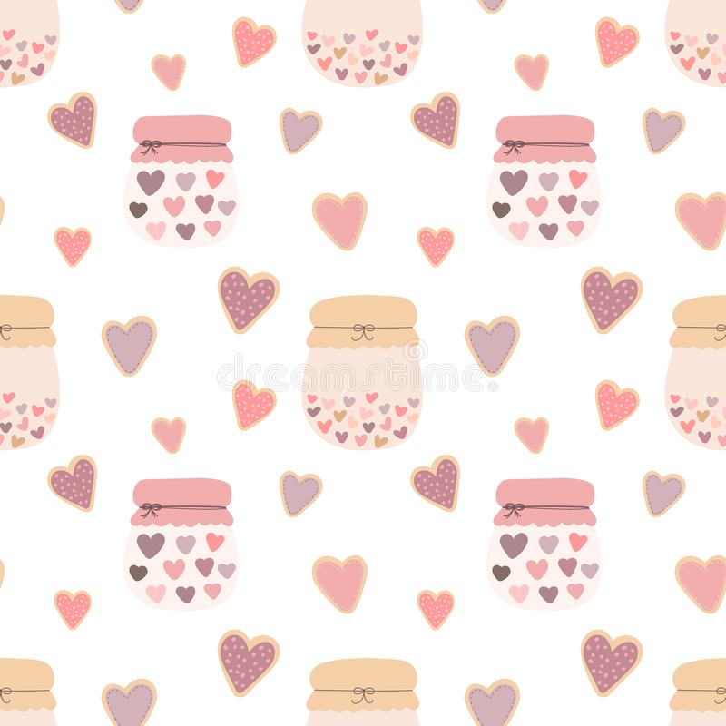 Seamless pattern of love shape hearts cookies, jars of jam on a light background. Vector image for Valentine`s Day, lovers, prints royalty free illustration