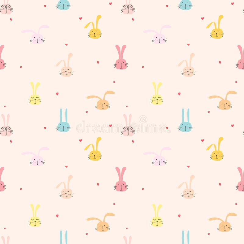 Seamless pattern with lovely bunny background, Cute rabbit art for kids. Seamless pattern with lovely bunny background, Cute rabbit art for kids, Vector royalty free illustration