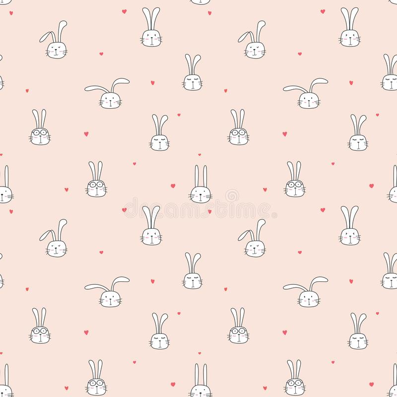 Seamless pattern with lovely bunny background, Cute rabbit art for kids. Seamless pattern with lovely bunny background, Cute rabbit art for kids, Vector stock illustration