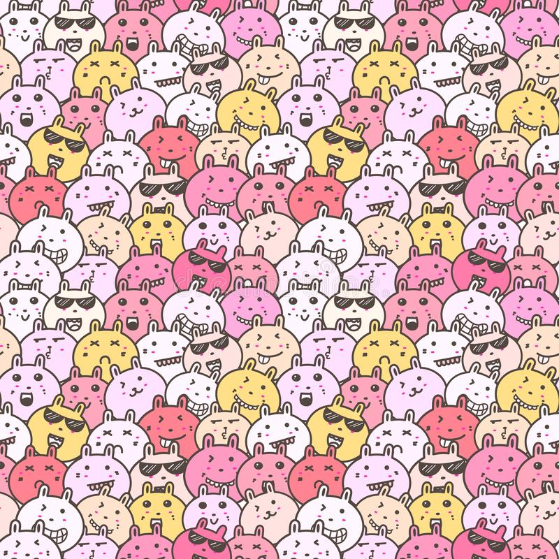 Seamless pattern with lovely bunny background, Cute rabbit doodle art for kids. Seamless pattern with lovely bunny background, Cute rabbit doodle art for kids vector illustration